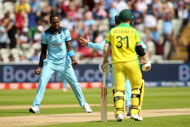 Jofra Archer removed Aaron Finch with his first delivery of the match (Nigel French/PA)