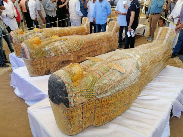 PHOTO: Egypt unveiled 30 ancient wooden coffins on Saturday that were discovered in the southern city of Luxor, in what the country's antiquities ministry described as one of the largest discoveries in years. (Hatem Maher/ABC News)