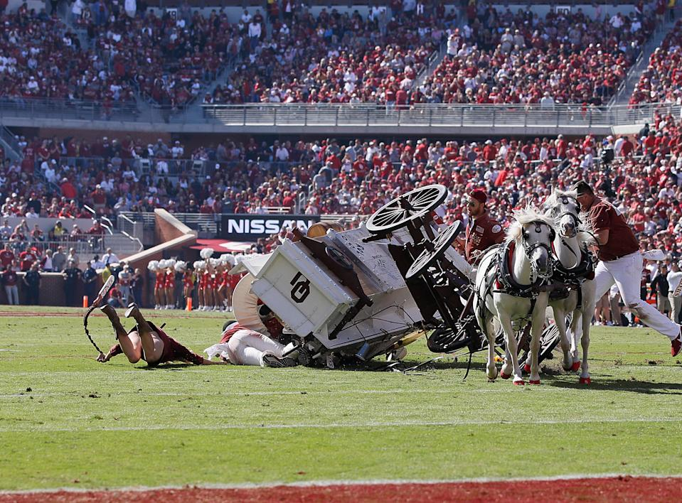 NORMAN, OK - OCTOBER 19: Oklahoma Ruf Nek's Sooner Schooner over turns after a touchdown celebration  during a college football game between the Oklahoma Sooners and the West Virginia Mountaineers on October 19, 2019, at Memorial Stadium in Norman, OK.  (Photo by David Stacy/Icon Sportswire via Getty Images)