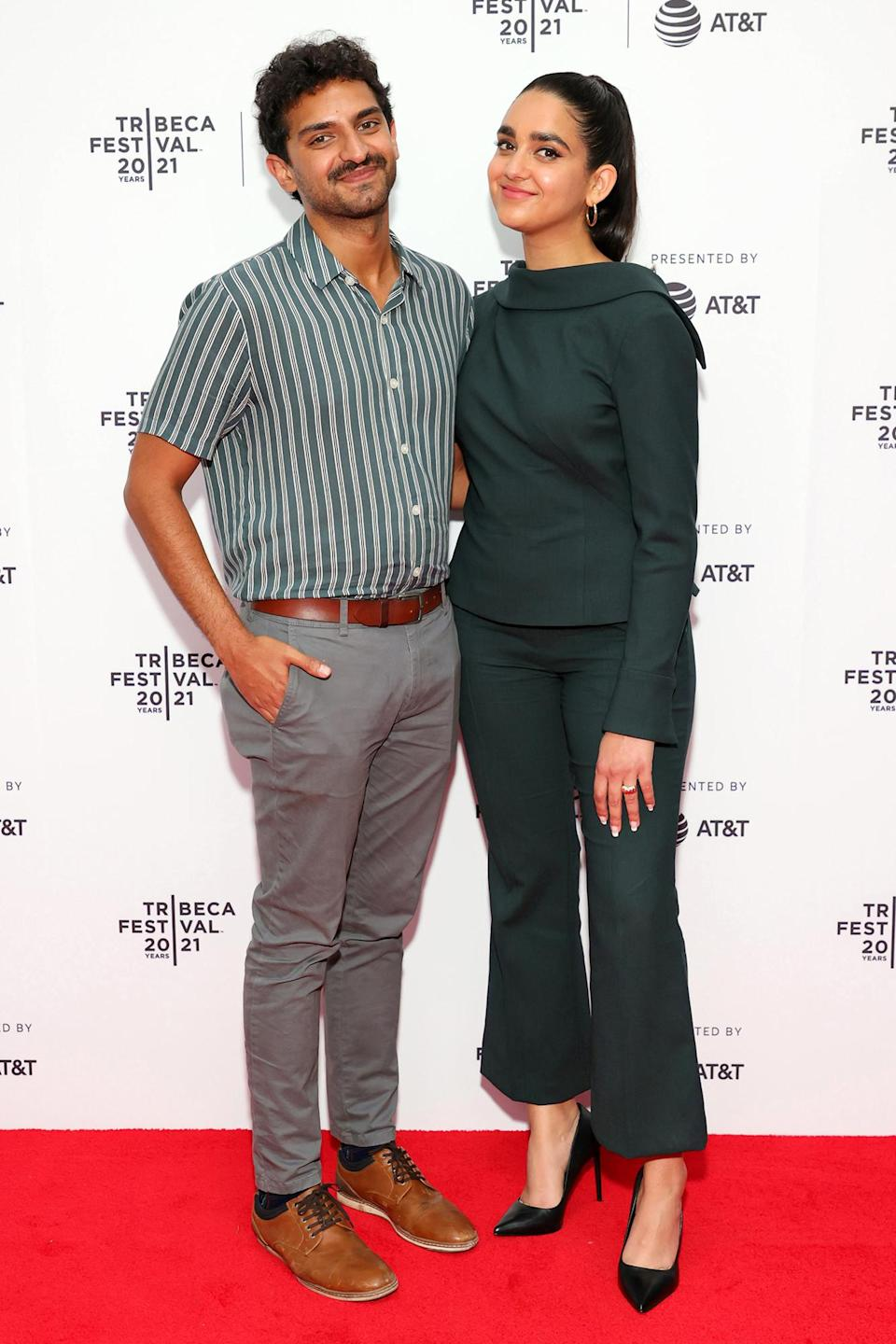 <p>Costars Karan Soni and Geraldine Viswanathan pose together at the Tribeca Film Festival Premiere of <i>7 Days</i> on June 10 in Brooklyn. </p>