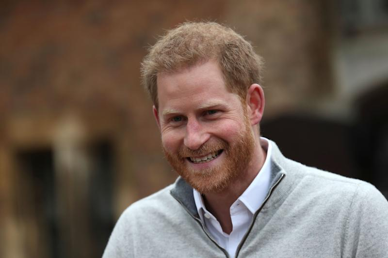 Harry outside Windsor Castle after the birth of his son [Photo: PA]