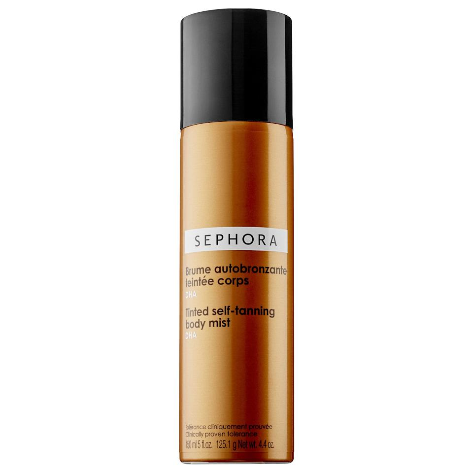 """<h3>Sephora Collection Tinted Self-Tanning Body Mist<br></h3><br><strong>The Airbrush-In-A-Can Self Tanner</strong><br><br>Sephora's in-house brand, Sephora Collection, is the best kept secret of the beauty mega-retailer. In addition to being wildly affordable, virtually all of their products are just as good as the pricey stuff — this under-$20 tanning mist being one of many prime examples.<br><br><strong>The Hype:</strong> 4.4 out of 5 stars and 968 reviews on <a href=""""https://www.sephora.com/product/tinted-self-tanning-body-mist-P286510"""" rel=""""nofollow noopener"""" target=""""_blank"""" data-ylk=""""slk:Sephora"""" class=""""link rapid-noclick-resp"""">Sephora</a><br><br><strong>Reviewers Say: </strong>""""I couldn't make it through a summer without this stuff, it's just the best tanner I've ever used! Never streaks, very natural look. The spray is nice if you're doing your own back ...and it's cheap."""" — itsizzi, Sephora Reviewer<br><br><strong>Sephora Collection</strong> Tinted Self-Tanning Body Mist, $, available at <a href=""""https://go.skimresources.com/?id=30283X879131&url=https%3A%2F%2Fwww.sephora.com%2Fproduct%2Ftinted-self-tanning-body-mist-P286510"""" rel=""""nofollow noopener"""" target=""""_blank"""" data-ylk=""""slk:Sephora"""" class=""""link rapid-noclick-resp"""">Sephora</a>"""
