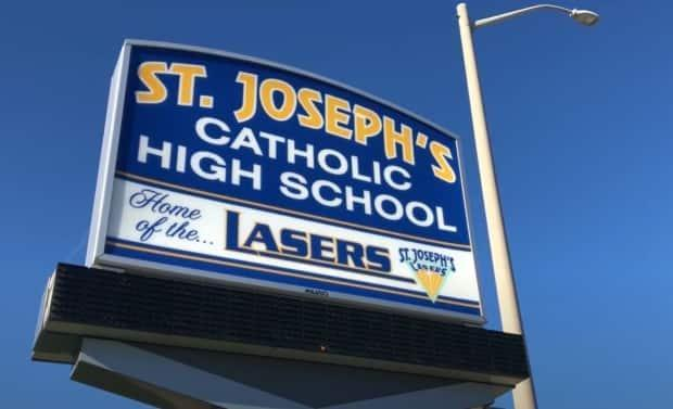 St. Joseph's Catholic High School was shut down on Sept. 15 after five COVID-19 cases were identified. (Chris Ensing/CBC - image credit)