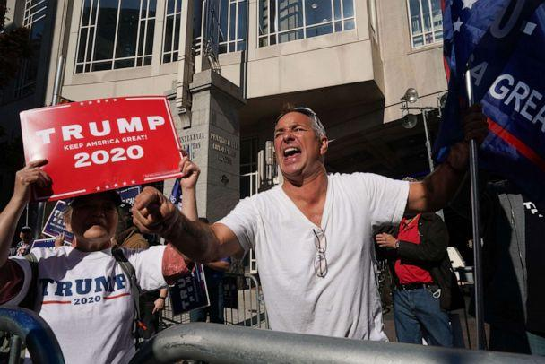 PHOTO: Trump supporter Michael Breitenbach screams outside the Pennsylvania Convention Center as ballot counting continues inside for the presidential election, on Nov. 6, 2020, in Philadelphia. (Bryan R. Smith/AFP via Getty Images)