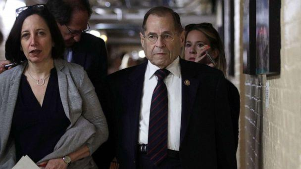 PHOTO: Committee Chairman of U.S. House Judiciary Committee Rep. Jerry Nadler leaves a House Democrats meeting at the Capitol May 22, 2019, in Washington. (Alex Wong/Getty Images)