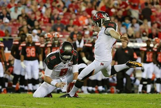 Aug 29, 2015; Tampa, FL, USA; Tampa Bay Buccaneers kicker Patrick Murray (7) kicks an extra point against the Cleveland Browns during the second quarter at Raymond James Stadium. Mandatory Credit: Kim Klement-USA TODAY Sports
