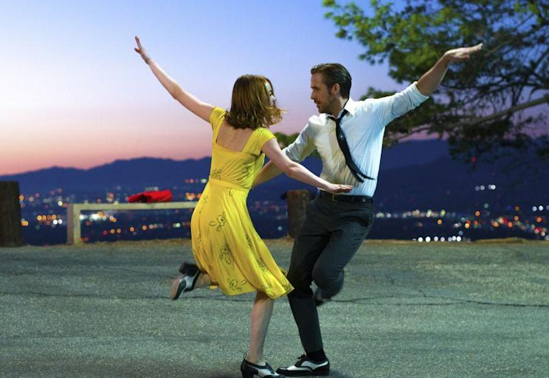 Ryan Gosling and Emma Stone in a scene from