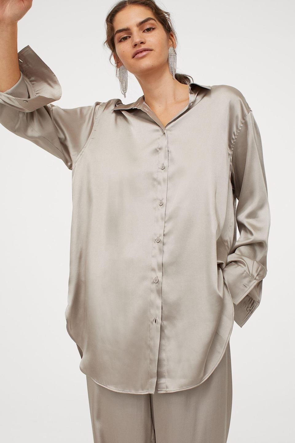 <p>Theis <span>Satin Shirt</span> ($25) doubles as a dressy work top. You can also find it in black.</p>