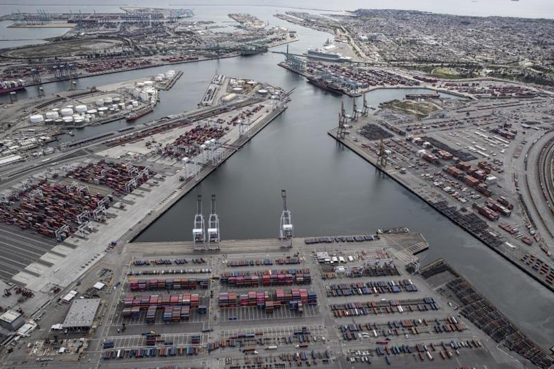 LOS ANGELES, CA, WEDNESDAY MARCH 25, 2020 - A few container ships are docked in what is usually a very busy port of LA. (Robert Gauthier/Los Angeles Times)