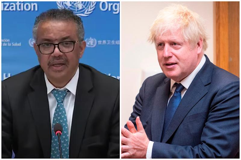 Dr Tedros Adhanom Ghebreyesus praised Boris Johnson for the northern England lockdown. (WHO/Getty Images)