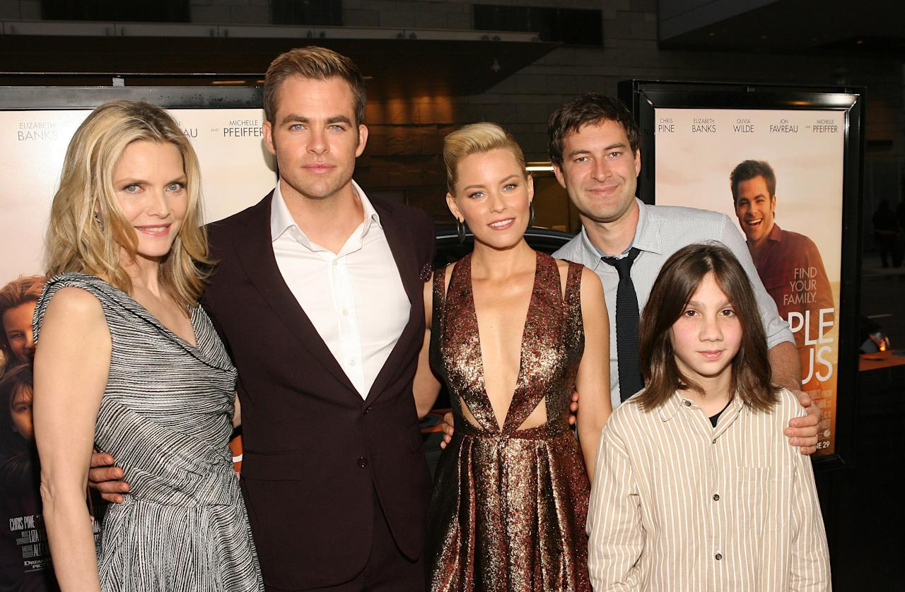 LOS ANGELES, CA - JUNE 15: Actors Michelle Pfeiffer, Michael Hall D'Addario, Chris Pine, Elizabeth Banks and Mark Duplass attend the 2012 Los Angeles Film Festival Premiere of 'People Like Us' at Regal Cinemas L.A. LIVE Stadium 14 on June 15, 2012 in Los Angeles, California.  (Photo by Jesse Grant/Getty Images)