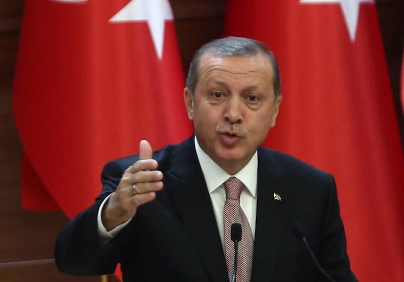 """Turkish President Recep Tayyip Erdogan, pictured on November 26, 2015, said that Turkey obtained all its oil and gas imports """"though the legal path"""""""
