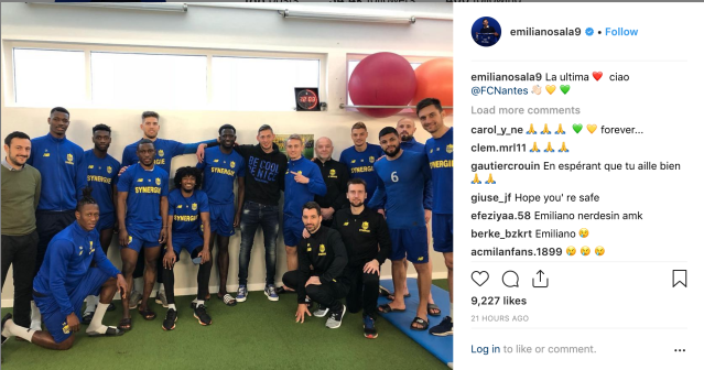 Emiliano Sala's most recent Instagram post wished goodbye to his Nantes teammates