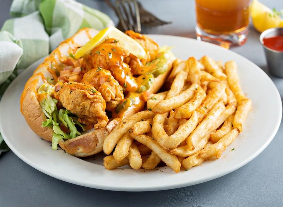 Po boy sandwich and french fries