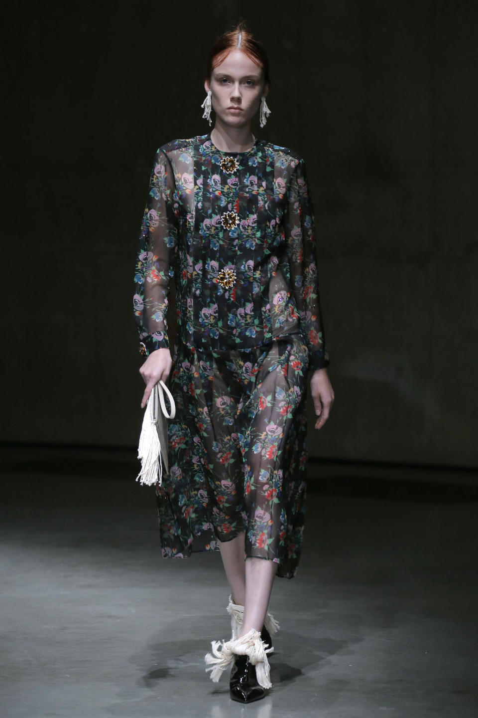<p>Dark and sheer florals from Christopher Kane. </p>