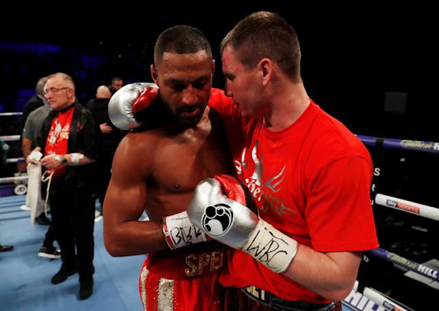 Boxing - Kell Brook vs Sergey Rabchenko - Sheffield, Britain - March 3, 2018 Kell Brook with Sergey Rabchenko after the fight Action Images via Reuters/Andrew Couldridge