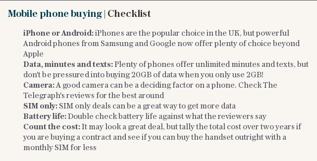 Mobile phone buying | Checklist