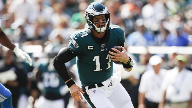 Philadelphia Eagles quarterback Carson Wentz (11) in action during an NFL football game against the Detroit Lions, Sunday, Sept. 22, 2019, in Philadelphia. (AP Photo/Matt Rourke)