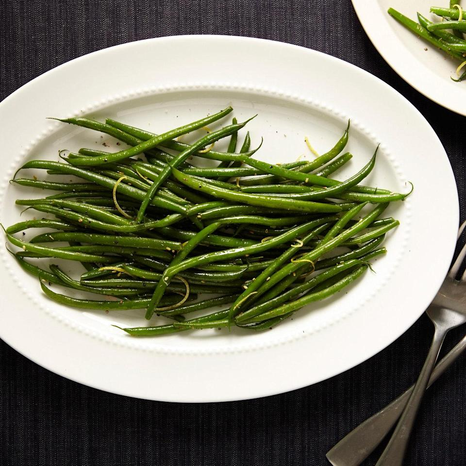 "Dressed with butter, lemon, and za'atar, these broth-cooked green beans are flavorful and bright. <a href=""https://www.epicurious.com/recipes/food/views/green-beans-with-zaatar-and-lemon-51258450?mbid=synd_yahoo_rss"" rel=""nofollow noopener"" target=""_blank"" data-ylk=""slk:See recipe."" class=""link rapid-noclick-resp"">See recipe.</a>"