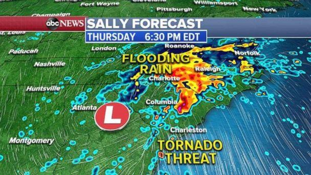 PHOTO: As Sally remnants move east Thursday afternoon and evening, there is a threat for flooding rain from Atlanta to Charlotte and Raleigh, North Carolina. (ABC News)