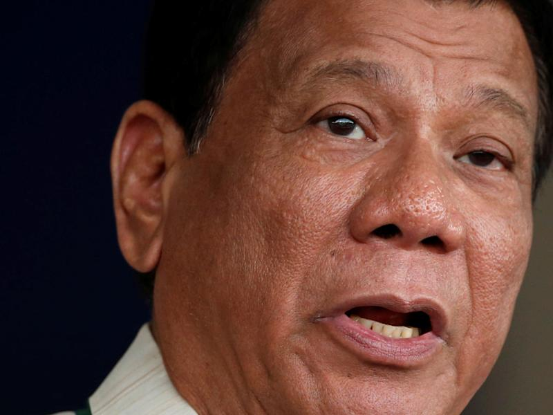Filipino President Rodrigo Duterte has urged his military to act for him because he can't oppose China's might diplomatically: Reuters