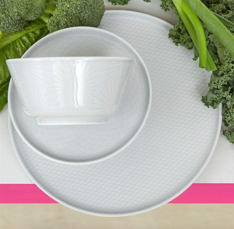 <p>With a light-grey glaze and thin relief pattern, the KRUSTAD dinnerware brings a delicate feeling to the dining table. The porcelain material is lightweight but durable and able to withstand chipping and cracking – as well as the dishwasher and microwave. Created by Swedish ceramic designer Anna Lerinder, the dinnerware series includes a plate, side plate, bowl and mug.</p><p><strong><em>KRUSTAD series: Bowl £2.75 each, Side plate £2.75 each, Plate £4 each</em></strong></p>