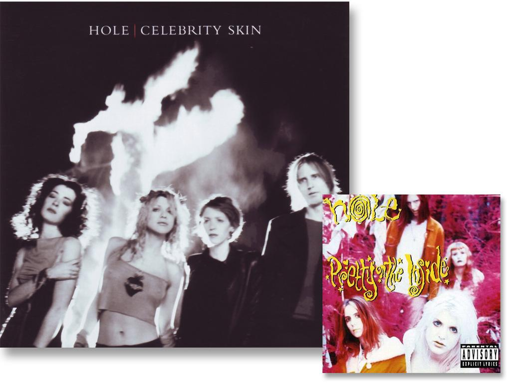 Hole frontwoman Courtney Love never used her looks to sell her music, preferring to don a dark, grunge image in the early days of her career. But then came the band's third album, 1998's Celebrity Skin … For the album cover, the widow of Kurt Cobain looked the part, baring her toned abs and a sexy pose.