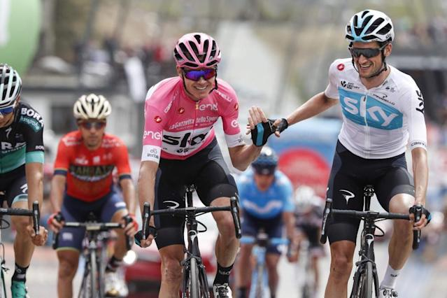 """<span class=""""element-image__caption"""">Froome crosses the line with team-mate Wout Poels.</span> <span class=""""element-image__credit"""">Photograph: Luk Benies/AFP/Getty Images</span>"""