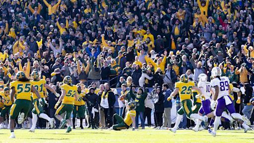 North Dakota State safety James Hendricks (6) slides on the field after intercepting a pass from James Madison quarterback Ben DiNucci during the the second half of the FCS championship NCAA college football game, Saturday, Jan. 11, 2020, in Frisco, Texas. (AP Photo/Sam Hodde)