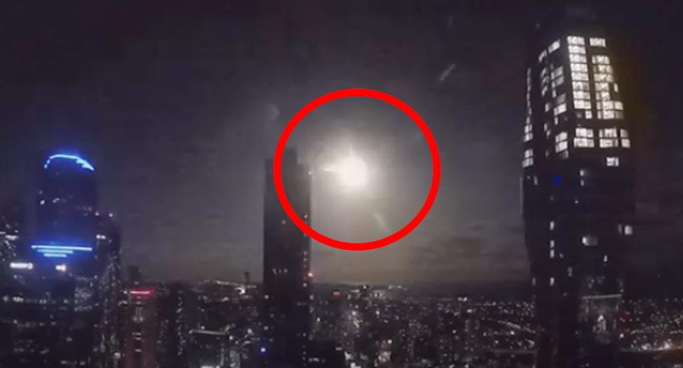 The meteor was spotted about 10.40pm. Source: YouTube/ Fernando Braga