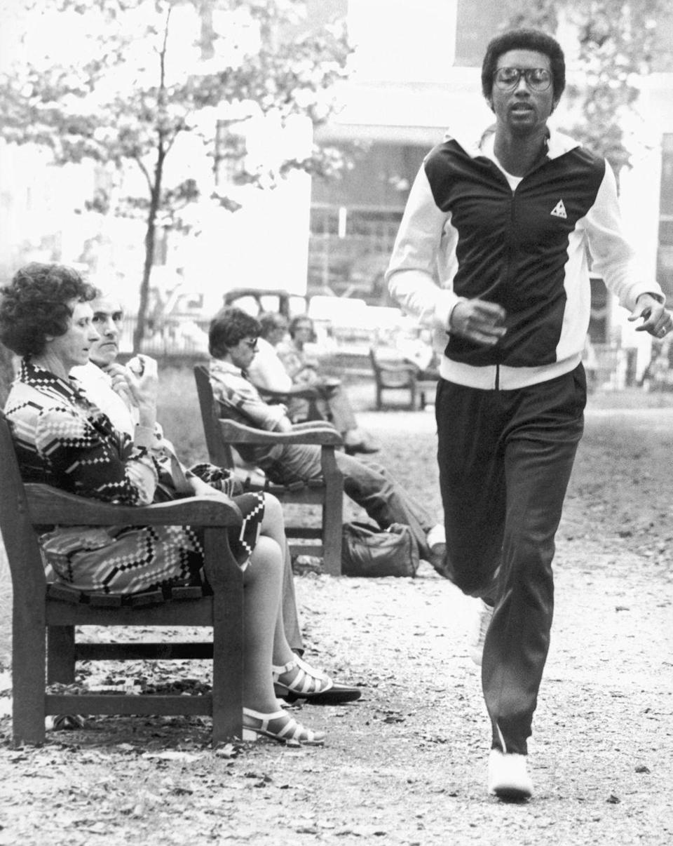 <p>Arthur Ashe out jogging in London in June 1979.</p>