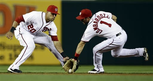 Washington Nationals second baseman Steve Lombardozzi (1) grabs a grounder in front of shortstop Ian Desmond (20), and makes the throw to first for the out on Los Angeles Dodgers' Adrian Gonzalez during the first inning of the second baseball game of a doubleheader, Wednesday, Sept. 19, 2012, in Washington. The Nationals won the first game 3-1. (AP Photo/Alex Brandon)