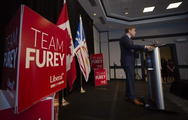Premier Andrew Furey speaks to the media after his Liberals won a majority government on Saturday.  (Paul Daly/The Canadian Press - image credit)