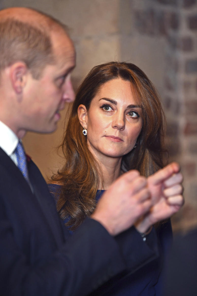 Britain's Prince William and Kate, the Duchess of Cambridge attend the launch of the National Emergencies Trust at St Martin-in-the-Fields in Trafalgar Square, London, Thursday, Nov. 7, 2019. The National Emergencies Trust is an independent charity which will provide an emergency response to disasters in the UK. (Victoria Jones/Pool Photo via AP)