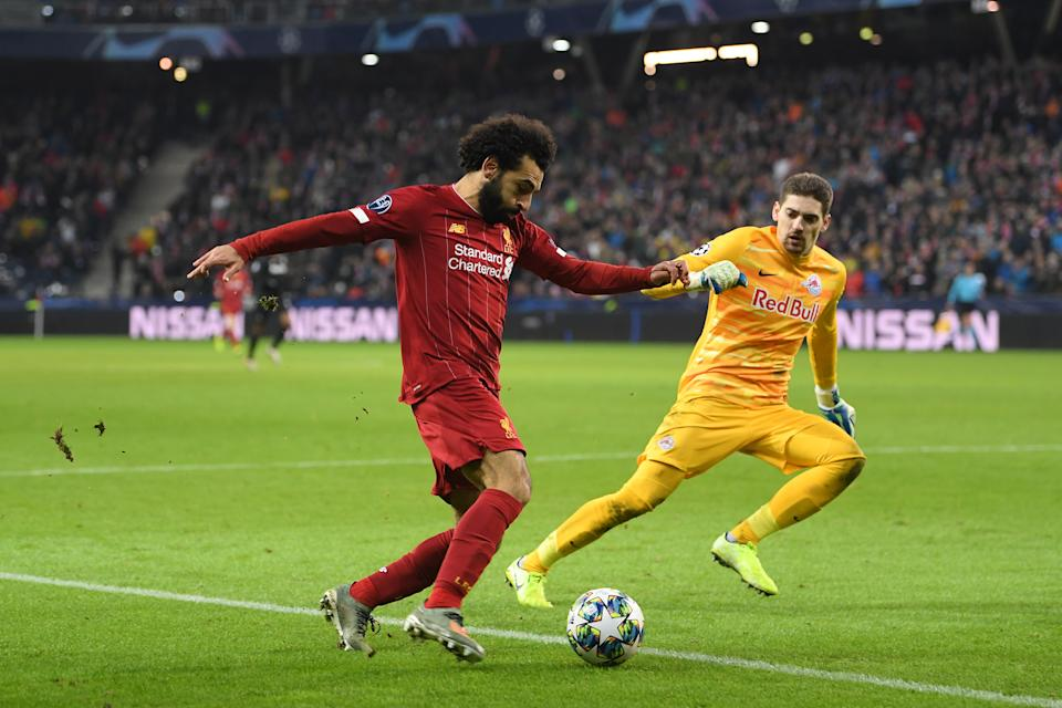 Mohamed Salah's goal from an impossible angle helped Liverpool eliminate Jesse Marsch and RB Salzburg in the Champions League. (Photo by Michael Regan/Getty Images)