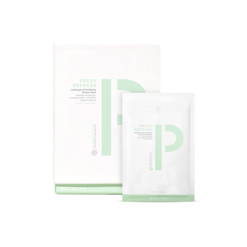 """<p>Get excited because ZitSticka is launching its first sheet mask. Press Refresh exfoliates skin with <a href=""""https://www.allure.com/gallery/what-you-didnt-know-about-lactic-salicylic-citric-glycolic-acid-creams?mbid=synd_yahoo_rss"""" rel=""""nofollow noopener"""" target=""""_blank"""" data-ylk=""""slk:salicylic acid"""" class=""""link rapid-noclick-resp"""">salicylic acid</a>, glycolic acid, and lactic acid. Don't be scared that it'll dry your skin out because it also has <a href=""""https://www.allure.com/story/niacinamide-skin-care-redness-side-effect?mbid=synd_yahoo_rss"""" rel=""""nofollow noopener"""" target=""""_blank"""" data-ylk=""""slk:niacinamide"""" class=""""link rapid-noclick-resp"""">niacinamide</a> that calms. </p> <p><strong>$36</strong> (<a href=""""https://zitsticka.com/products/press-refresh"""" rel=""""nofollow noopener"""" target=""""_blank"""" data-ylk=""""slk:Shop Now"""" class=""""link rapid-noclick-resp"""">Shop Now</a>)</p>"""