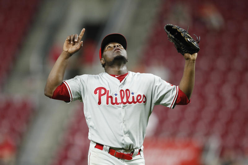 CINCINNATI, OH - SEPTEMBER 03: Hector Neris #50 of the Philadelphia Phillies reacts after pitching the final out in the ninth inning against the Cincinnati Reds at Great American Ball Park on September 3, 2019 in Cincinnati, Ohio. The Phillies defeated the Reds 6-2. (Photo by Joe Robbins/Getty Images)