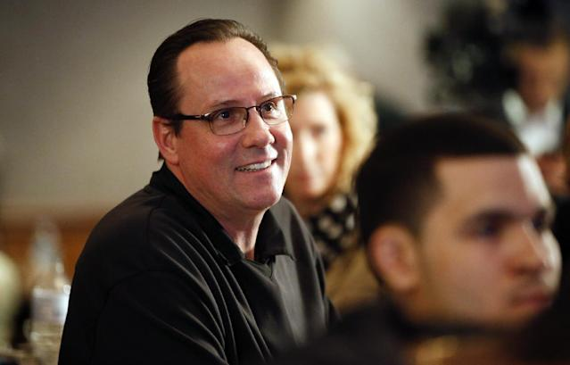 Wichita State head coach Gregg Marshall smiles as Wichita State earns a No. 1 seed during an NCAA college basketball Selection Sunday watch party, Sunday, March 16, 2014, in Wichita, Kan. (AP Photo/The Wichita Eagle, Jaime Green)