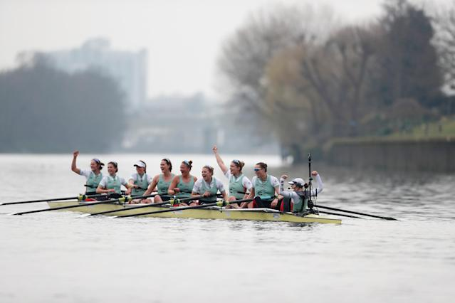 Rowing - 2018 Oxford University vs Cambridge University Boat Race - London, Britain - March 24, 2018 Cambridge celebrate winning the women's boat race REUTERS/Matthew Childs