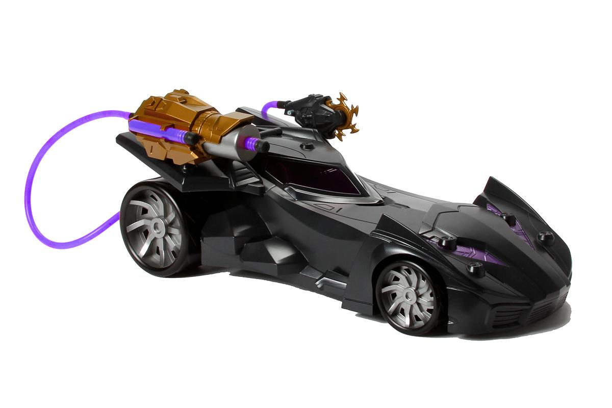 <p>Peel thought the streets of Gotham City in this sleek 6-inch replica of the Dark Knight's signature ride, and take aim at escaping Arkham Asylum baddies with a pair of weapons activated by an air-powered pump. (Photo: Mattel/Warner Bros.) </p>