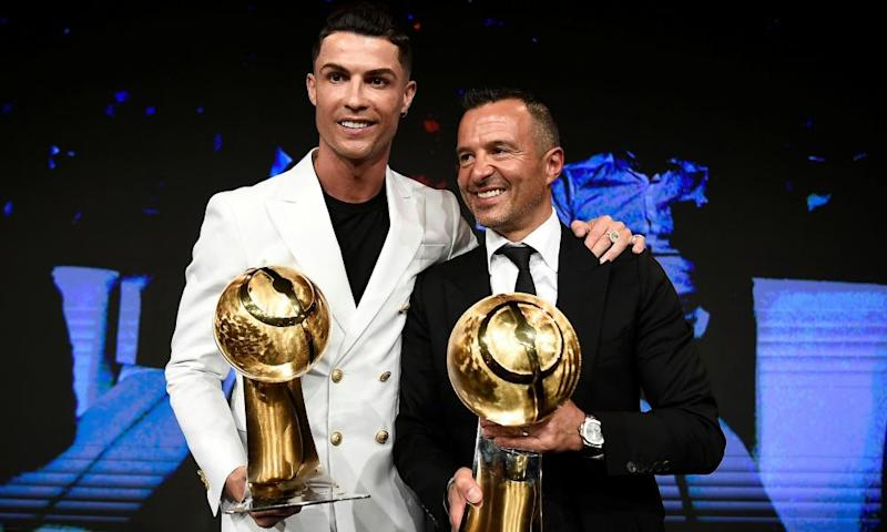 Jorge Mendes with Cristiano Ronaldo. The agent's first deal was the transfer of the young Ronaldo from Sporting Lisbon to Manchester United.