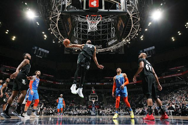 Karl-Anthony Towns dominated against the Thunder on Tuesday. (Photo by David Sherman/NBAE via Getty Images)