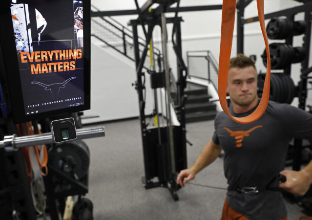 "Detail of the motto ""Everything Matters"" as Texas Longhorns' Sam Ehlinger works out Wednesday Sept. 4, 2019 in Austin, Tx. ( Photo by Edward A. Ornelas )"