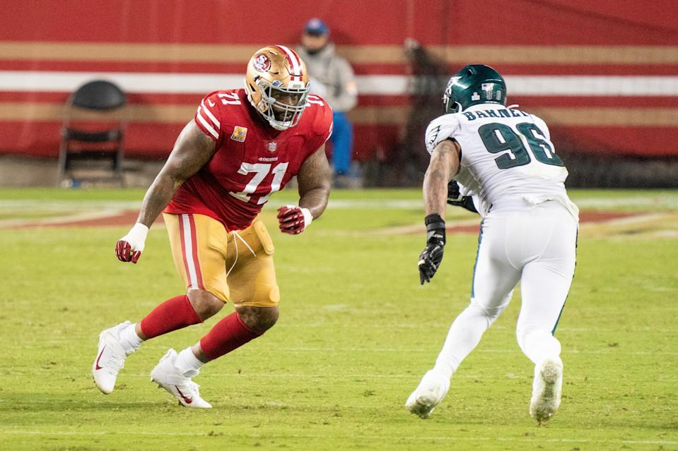 Pro Bowl LT Trent Williams (71) seems likely to finish his career with the 49ers.