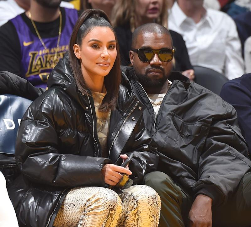 Kim Kardashian and Kanye West | Andrew D. Bernstein/NBAE via Getty Images