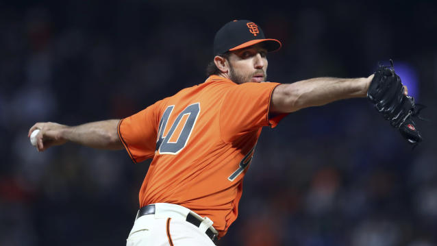 San Francisco Giants pitcher Madison Bumgarner works against the Los Angeles Dodgers during the first inning of a baseball game Friday, Sept. 28, 2018, in San Francisco. (AP Photo/Ben Margot)