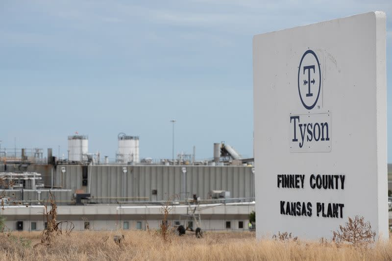 Tyson Fresh Meats processing plant is seen three days after a fire heavily damaged the facility in the Finney County town of Holcomb