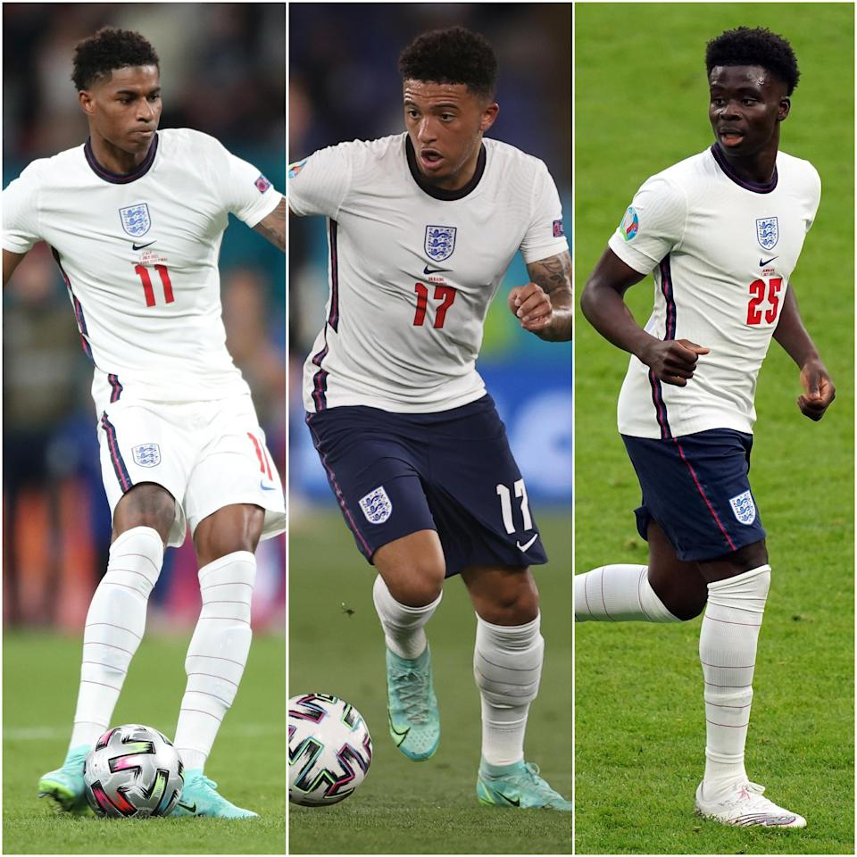 Marcus Rashford, Jadon Sancho and Bukayo Saka were subjected to racist abuse after their penalty misses for England