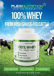 IRISH WHEY is manufactured from sustainably farmed, Irish Grass-Fed and Free-Range Whey Protein which is also Gluten and GMO Free. IRISH WHEY provides the perfect balance of essential and non-essential Amino Acids including a high concentration of Branch Chain Amino Acids (BCAAs). It is the perfect nutritional component to complement your muscle growth, fat loss or fitness program. Great taste and mixability.