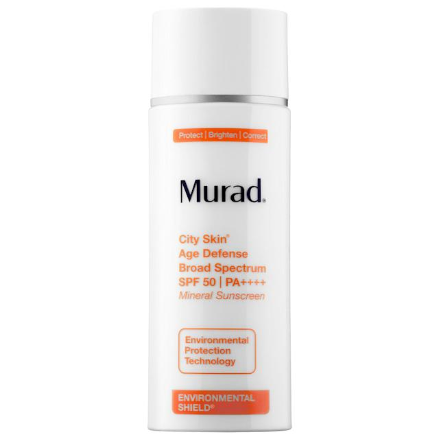 "<p>This mineral sunscreen also protects from pollution damage and blue-light damage from devices. And its thin, quickly-melting formula smells subtly floral. <a href=""https://www.murad.com/product/city-skin-anti-aging-face-sunscreen-spf-50/"" rel=""nofollow noopener"" target=""_blank"" data-ylk=""slk:Murad City Skin Age Defense Broad Spectrum SPF 50"" class=""link rapid-noclick-resp"">Murad City Skin Age Defense Broad Spectrum SPF 50</a>, $65. (Photo: Murad) </p>"